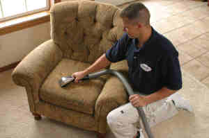 Upholstery cleaning experts in Hinterland apply protectants and sanitisers to fight furniture stains and bacteria - image